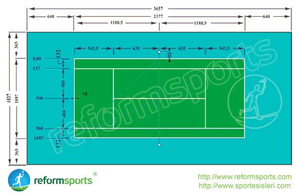 Sentetik Çim Tenis Kortunun Nizami Ölçüleri
